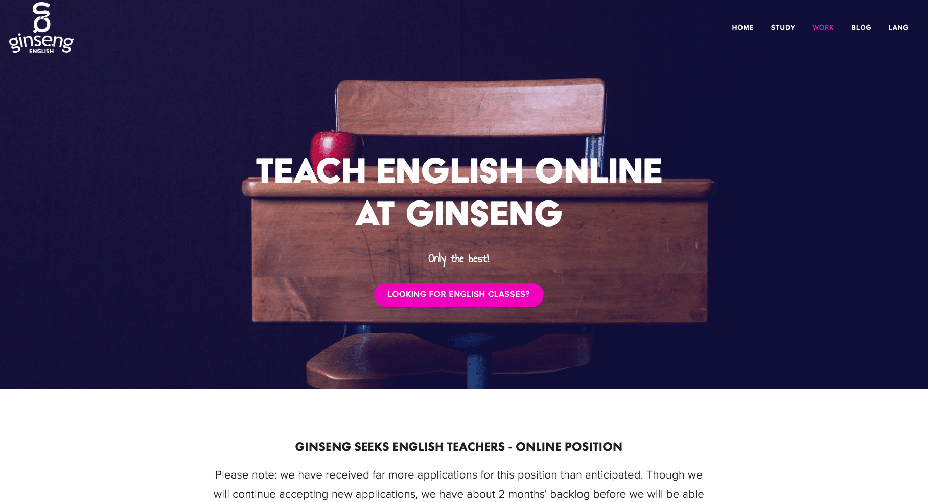 Ginseng English Job Application