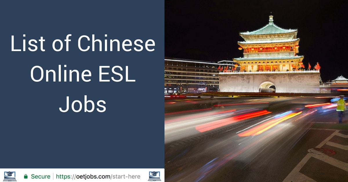 List of Chinese Online ESL Jobs