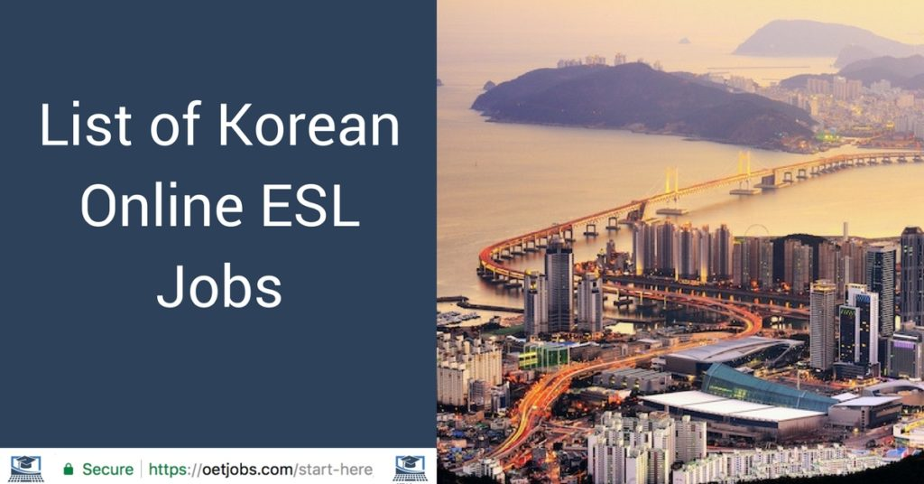 List of Korean Online ESL Jobs